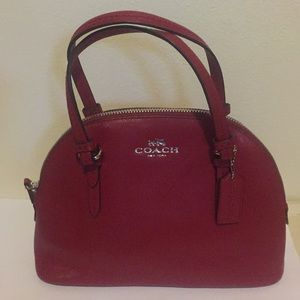 Authentic red coach purse with silver zipper